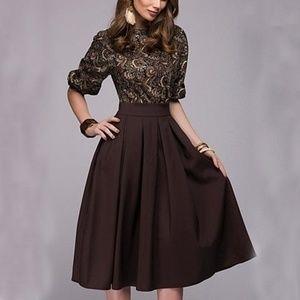 Dresses & Skirts - Women Floral Printed Party Elegant Brown Dress